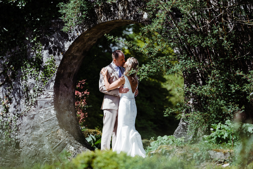Bride and groom at the walled gardens in Mount Juliet